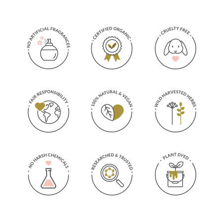 Vector set of elegant line icons for natural cosmetics packaging - organic product, not tested on animals.