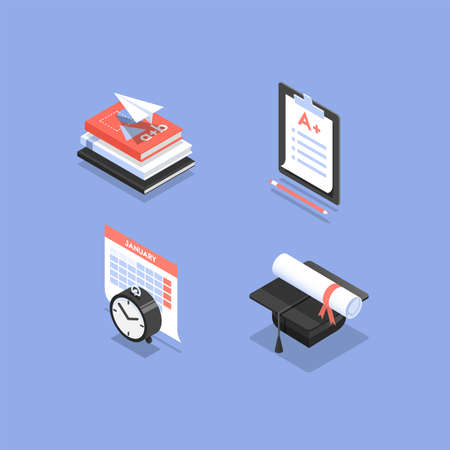 Vector set of isometric icons for education in school, college or university, such as exam, graduation, schedule and textbooks.