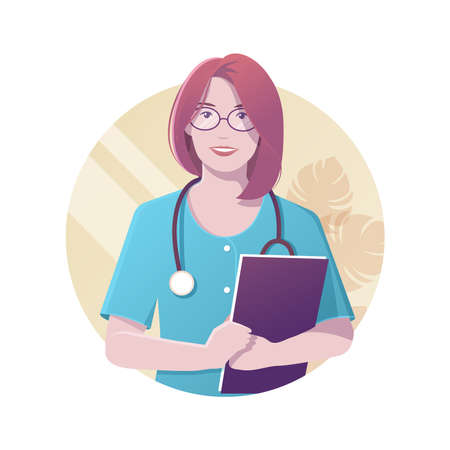Vector illustration of smiling female doctor with stethoscope in blue uniform holding folder in her hands. Modern flat realistic style. 矢量图像