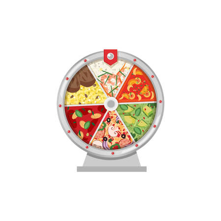 Vector illustration of concept of choosing the recipe or meal with fortune wheel. Different kind food or plates. Flat syle.  イラスト・ベクター素材