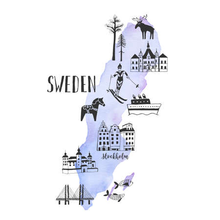 Hand drawn map of landmarks of Sweden Illustration