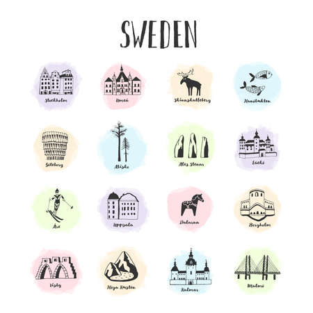 Vector hand drawn set of sights, activities and landmarks of Sweden. Famous places to visit. What to do and see.