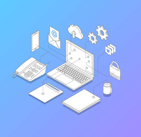 Line vector illustration of office desk for IT solutions. such us computer connection, telephony, internet security. Modern isometric style.