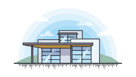 Vector illustration of landscape with private modern house for real estate and property.
