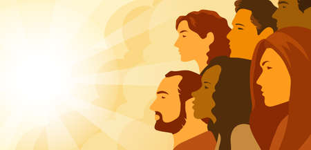 Vector illustration of multinational group of people - men and women looking into the distance. Concept of hope, concern about changing of the climate and planning of future. Illustration