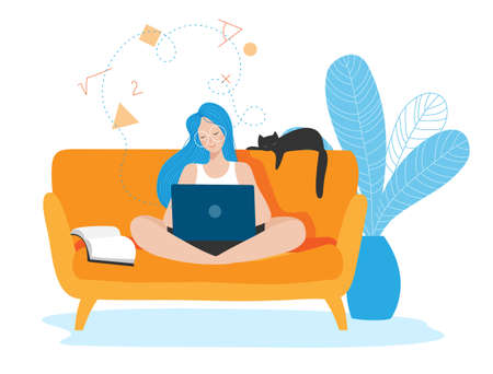 Vector illustration of girl siiting on sofa and learning from home via notebook. Consept of distance education and social isolation.