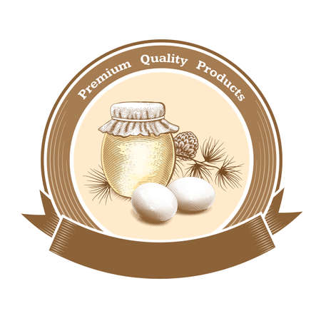 Vector vintage round label for farm or grocery with eggs, honey jar and text Premium Quality Products. Place for text.