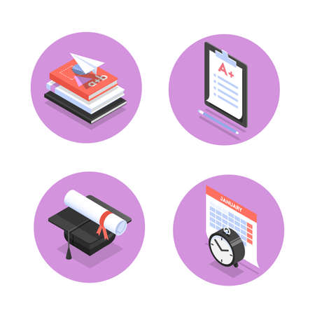 Vector set of isometric icons for education process in school, college or university, such as tests, graduation, lesson schedule and textbooks.