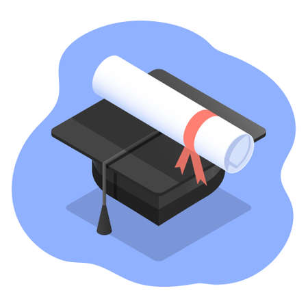 Vector isometric illustration of student graduation cap or hat with certificate scroll as concept of studing and education.