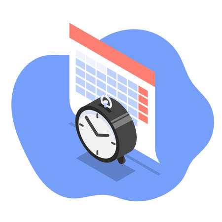 Vector isometric illustration of calendar and clock as concept of schedule and time management.