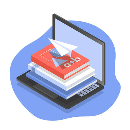 Vector isometric illustration of computer, textbooks and paper airplane as concept of distance learning and online education.