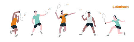 Vector illustration of people men and women playing badminton. Concept of sport activity and diversity.
