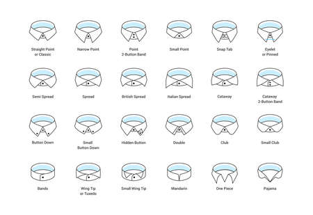 Vector line icon set of mens shirt collar styles, editable strokes. Illustration for style guide of formal male dress code for menswear store. Different collar models: tuxedo, spread, button down. 免版税图像 - 147709725