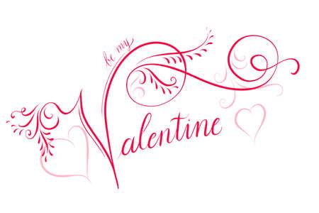 Calligraphic illustration for Valentines day Stock Photo