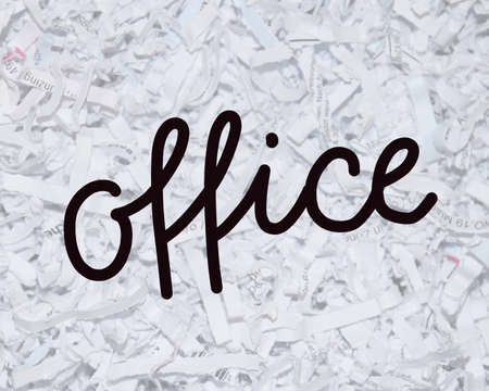 handlettered text office on shredded documents Stock Photo