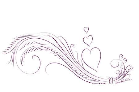 handdrawn ornament with hearts for romantic invitations Stock Photo