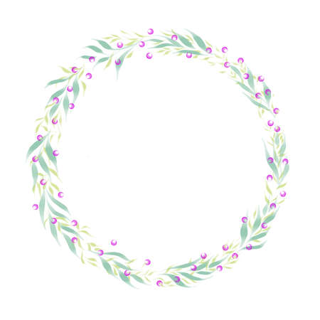 floral round frame for post cards Stock Photo
