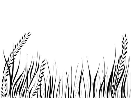 hand drawn silhouette of grass and leaves