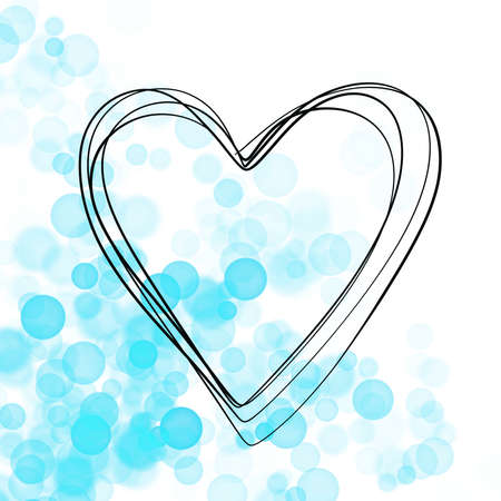 sweet hand drawn heart with blue bubbles