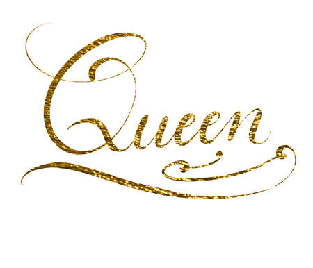 Hand lettered word queen isolated on white background