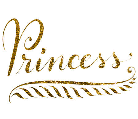 Hand lettered word princess isolated on white background