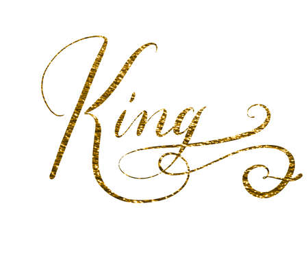 Hand lettered word king isolated on white background