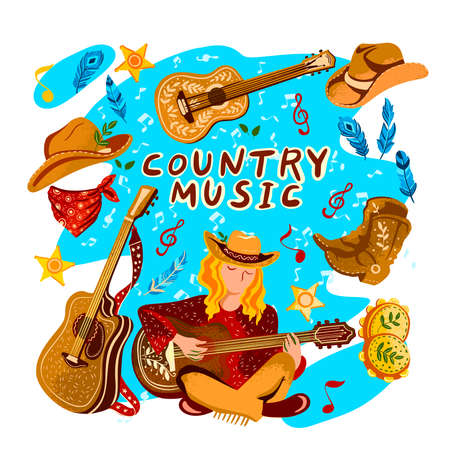 Vector hand drawn set ?Country Music? with girl in a cowboy hat playing guitar plus bandana, boots, tambourine, notes, stars and feathers. For music festival banners, invitations, advertisements.