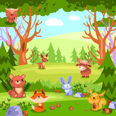 Stock colorful vector background with forest landscape and wild baby animals. Cute concept for nursery posters, games for kids, wallpapers, kindergartens, etc.