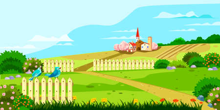 Horizontal rural landscape with hills, fences, footpath, birds, flowers, houses and blooming bushes. Spring garden with lawns in cartoon style. Village background for banners, posters, advertisements.