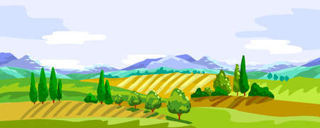 Vector stock horizontal banner with mountains, hills, cypress. Rural landscape with farming fields. Panoramic background in modern cartoon style for posters, advertisements, landing pages.