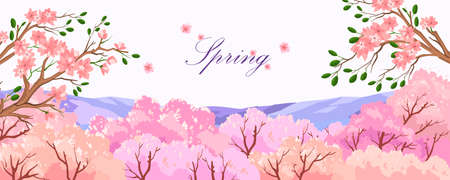 Vector spring scenery with sakura trees in blossom on the white background. Horizontal romantic banner with pink flowers and violet hills. Illustration for posters, landing pages, wedding typography Vector Illustration