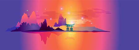 Horizontal Japanese view with rocks, torii, river, stars, reflections in water. Oriental banner in warm color scheme.  Abstract landscape with hills, mountains and lake. For backgrounds advertisements