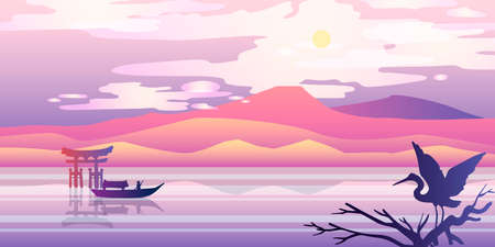 Horizontal Japanese panorama with mountains, hills, torii, river, boat, stork and sun. Oriental stock landscape in pink and violet colors. For landing pages, banners, backgrounds, advertisements