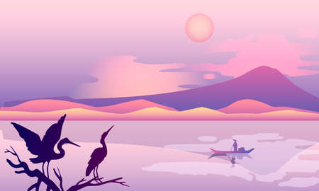 Oriental horizontal background with hills, mountain, sun, clouds, branch, river, boat, stork. Japanese landscape with birds silhouette and copy space. Banner for postcards, flyers and advertisements