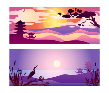 Vector oriental collection of postcards with horizontal landscapes. Japanese views with river, sun, moon, boat, sun, hills, pagoda and pine. Travel backgrounds for advertisements, flyers, prints, cards.