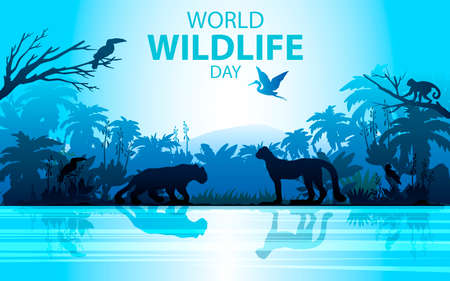 Vector stock World Wildlife Day banner. Rainforest landscape in blue colors with leopard, money, palm, toucan and river. Jungle concept for ecological and environmental projects, advertisements,flyers Ilustración de vector
