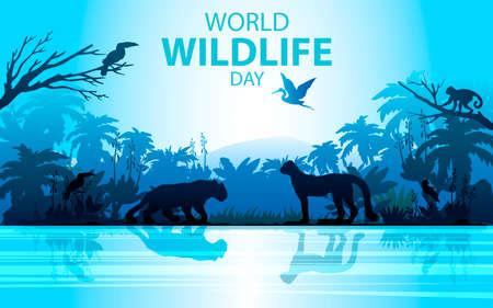 Vektor-Lager World Wildlife Day-Banner. Regenwaldlandschaft in blauen Farben mit Leopard, Geld, Palme, Tukan und Fluss. Dschungelkonzept für Öko- und Umweltprojekte, Werbung, Flyer Vektorgrafik