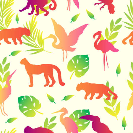Vector seamless pattern with tropical animals, birds and leaves. Exotic stock texture with leopard, toucan, panther, flamingo and monstera on white background. For textile, apparel, linen, wrapping