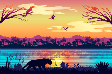 Stock Brazil landscape with hunting predator, morning sky, birds and reflections in water. Rainforest panorama with monkey, toucan, leopard. Jungle banner for backgrounds, advertisements, flyers