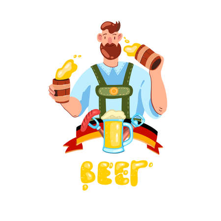 Vector hand drawn logo with happy man with beard in traditional German costume holding two mugs of beer. Flat style illustration with flag, glass, opener, sausage. Isolated on white.
