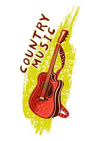 """Vector hand drawn poster """"Country Music� with acoustic guitar on the background of green brushstroke. For music festival banners, invitations, posters, logos, articles, advertisements."""