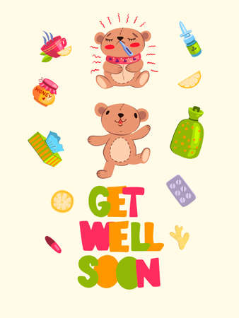"""Vector hand drawn postcard """"Get Well Soon� with two cute cartoon style bears – one is sick, another is healthy. With hot tea, cup, honey, lemon, nasal drops, pills, warmer, ginger and orange. Stock Illustratie"""