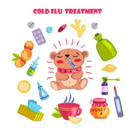 Vector hand drawn flu and virus concept with natural illness treatment elements and sick bear. With honey, tea, lemon, orange, napkins, thermometer, warmer, nasal drops, pills, ginger Vektorgrafik