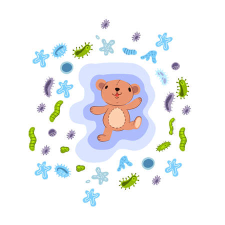 Vector hand drawn concept of immune system with cute bear surrounded by viruses and bacteria. Kids poster for hospitals illustrating vaccination results. Isolated on white.