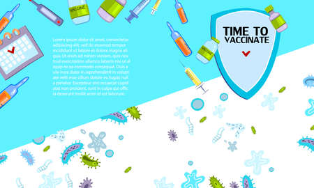 """""""Time to Vaccinate"""" landing page template with medical objects, shield, microbes and viruses. With place for your text."""