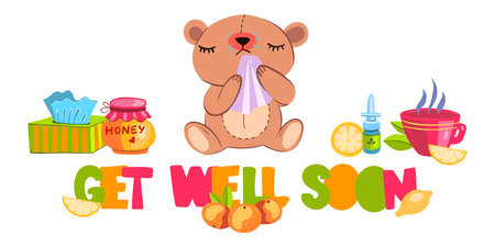 "Vector hand drawn postcard ""Get Well Soon� with cute sick cartoon style bear. With hot tea, cup, honey, lemon, nasal drops, napkins, pills and orange."