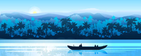 Stock horizontal landscape with rainforest, river and boat in mist. Jungle panorama with palm trees silhouette and rising sun. Exotic vector banner in blue for landing pages, advertisements, flyers.
