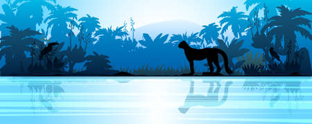 Horizontal panoramic landscape with rainforest outline, leopard, palm trees, river. Tropical view with jungle silhouette in blue color scheme. Colombian vector background for advertisements, banners