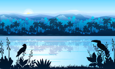 Stock horizontal landscape with rainforest, river, parrot and toucan in mist. Jungle panorama with palm trees silhouette and rising sun. Exotic vector banner in blue for landing pages, advertisements