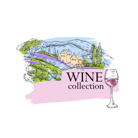 Hand drawn vector engraving illustration with vineyard panorama and glass of wine on the foreground. Colorful emblem for wine bottle, menus, booklets, wine lists, various prints. Illustration